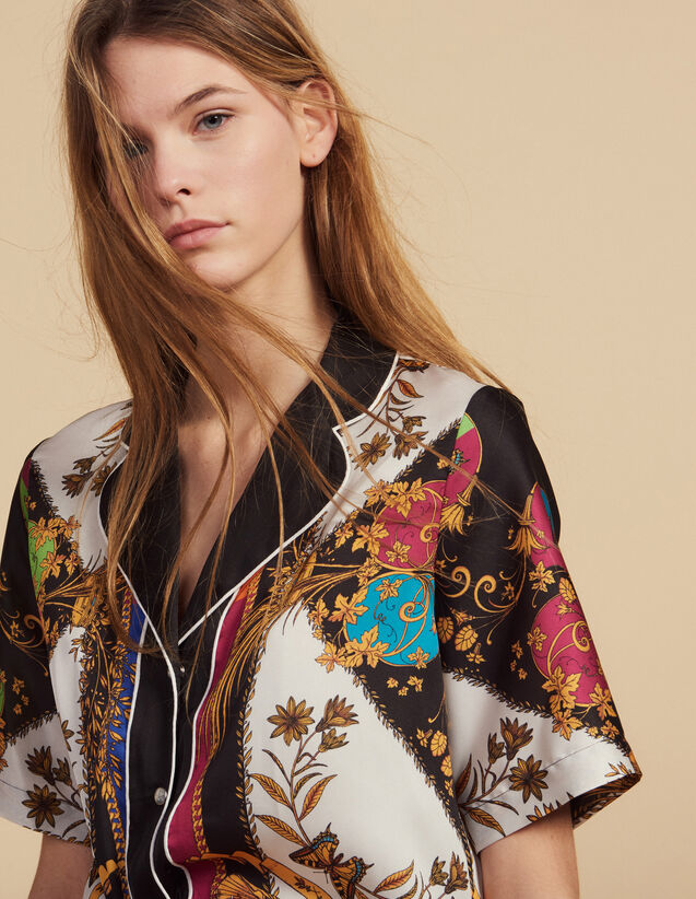 Camisa Estampada De Manga Corta : Camisa estampada color Multicolor