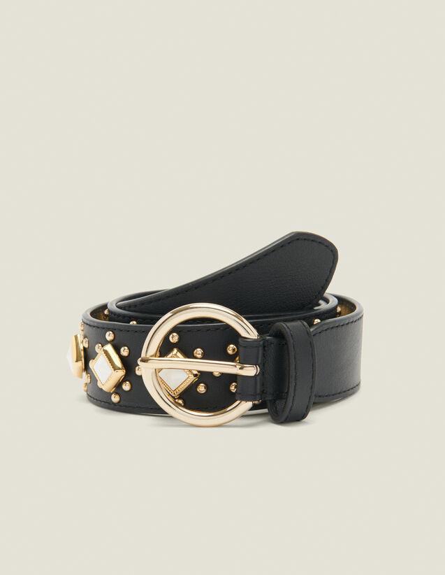 Cinturón con tachuelas y piedras acetato : Coleccion de verano color Negro