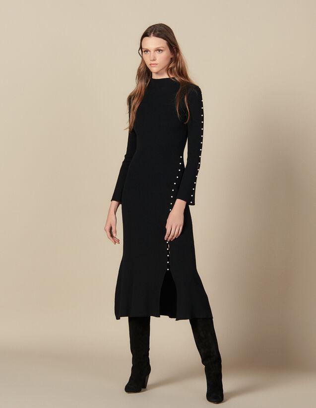 Vestido Largo De Punto Con Perlas : Vestidos color Negro