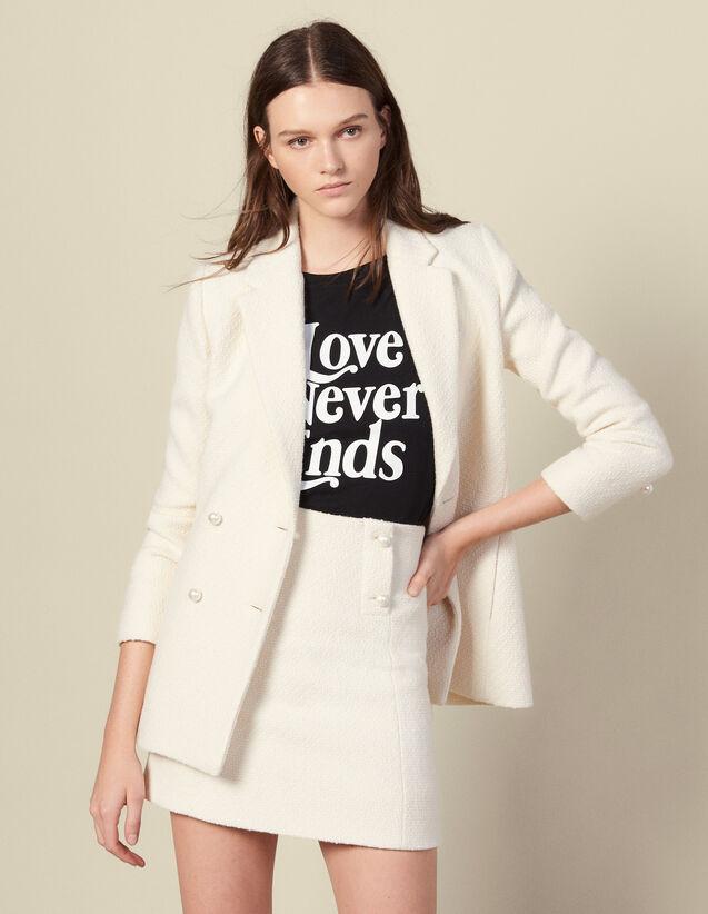 Falda Corta De Tweed : Faldas & Shorts color Crudo