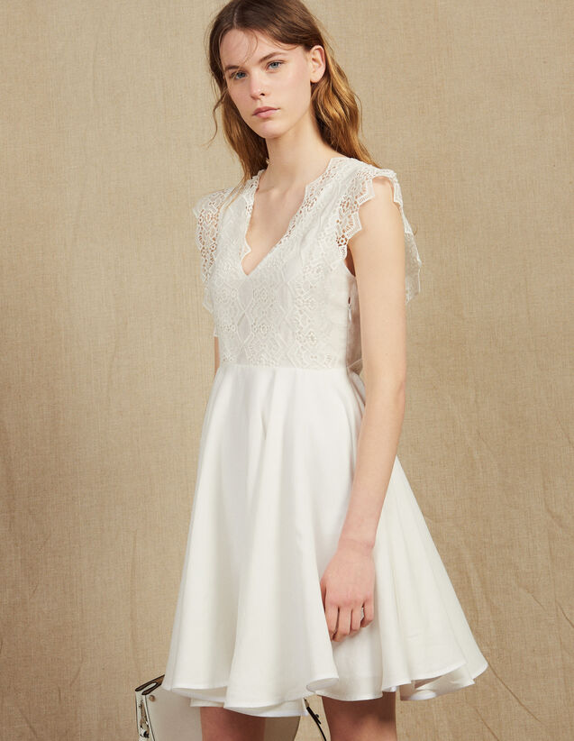 Vestido Corto De Corte Patinadora : null color Blanco