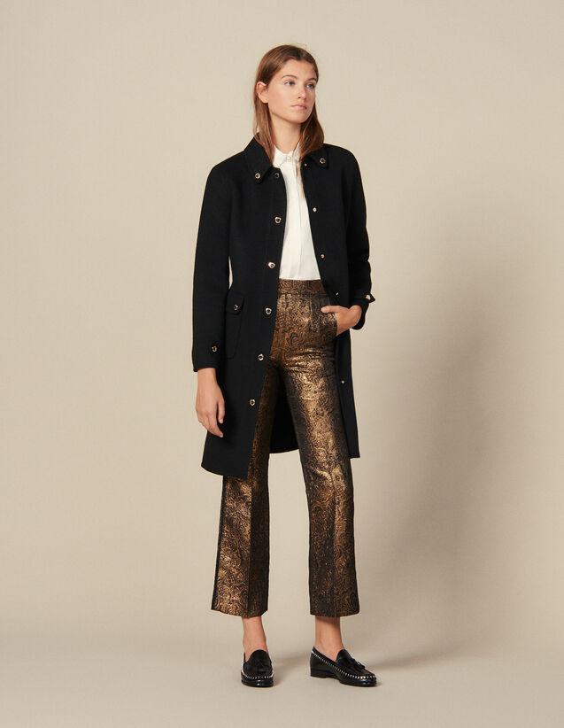 Pantalón De Sastre Evasé De Brocado : Pantalones color Oro