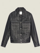 Chaqueta De Piel Pespunteada : SOLDES-CH-HSelection-PAP&ACCESS-2DEM color Negro