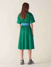 Vestido De Satén De Algodón : null color Verde