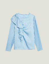 Top de manga larga plisada : Tops & Camisas color Ciel