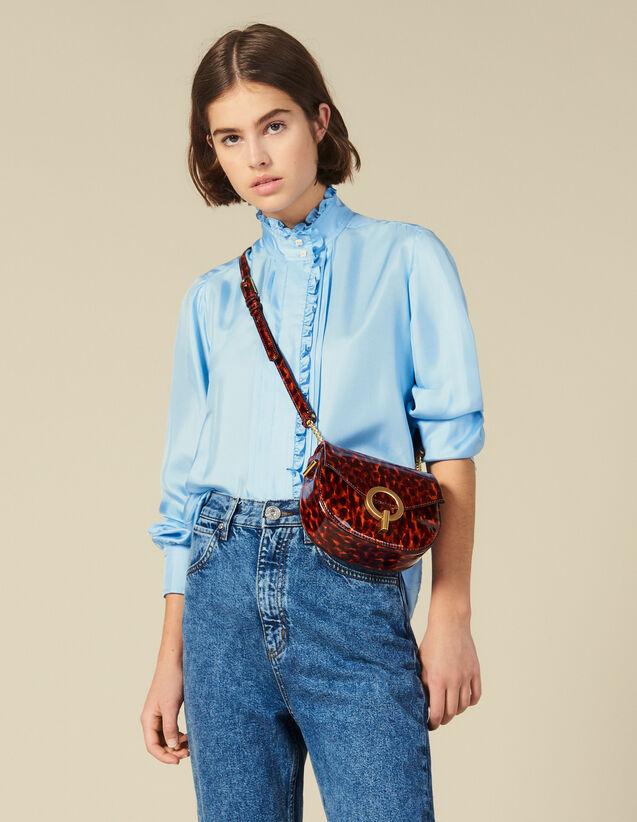 Camisa De Seda Bordada Con Volantes : Tops & Camisas color Ciel
