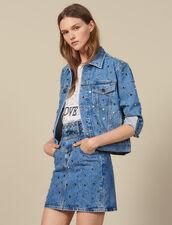 Falda Vaquera Corta Con Tachuelas : -50% color Bleu jean