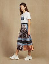 Falda Larga Estampada Con Pliegues : Faldas & Shorts color Azul