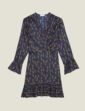 Vestido Corto Estampado Con Volantes : null color Azul
