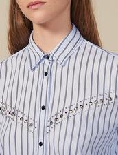 Camisa De Popelina De Rayas : Tops & Camisas color Ciel