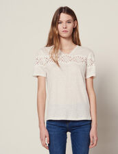 Camiseta De Lino Con Encaje : null color Crudo
