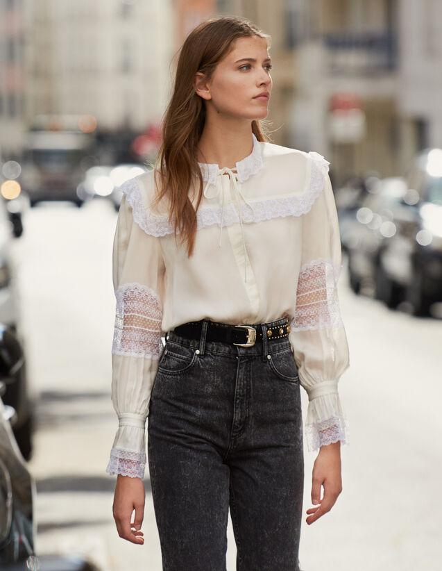 Camisa Adornada Con Encaje : Tops & Camisas color Crudo