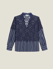 Top de popelina de rayas y encaje : Tops & Camisas color Marino