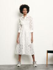 Vestido camisero largo de bordado : Vestidos color Blanco