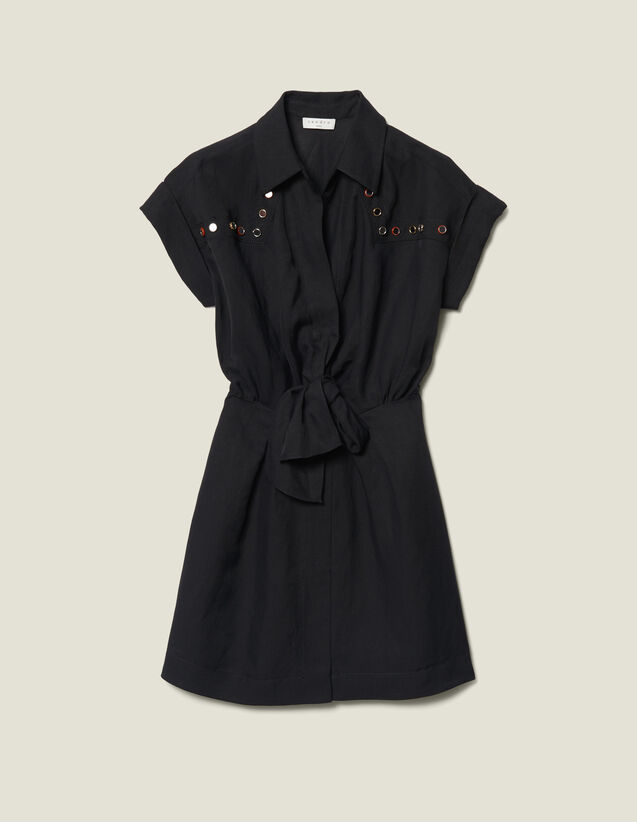 Vestido camisero con tachuelas de color : JP-CH-FPAP&Accessoires color Negro