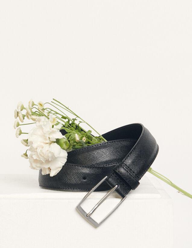 Cinturón de piel saffiano : Cinturones color Negro