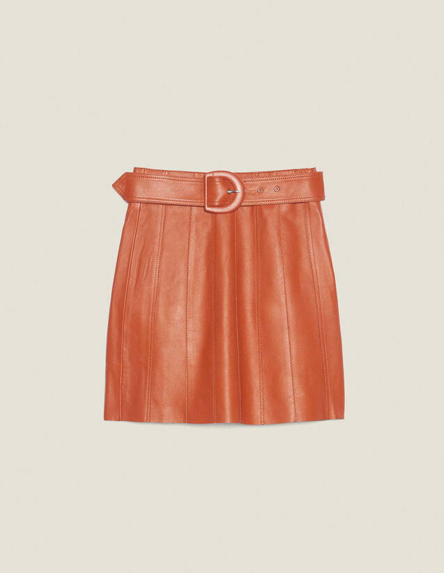 Falda De Piel Con Cinturón : Faldas & Shorts color Caramelo