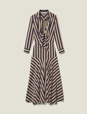 Vestido largo con juego de rayas : FBlackFriday-FR-FSelection-50 color Beige / Bleu