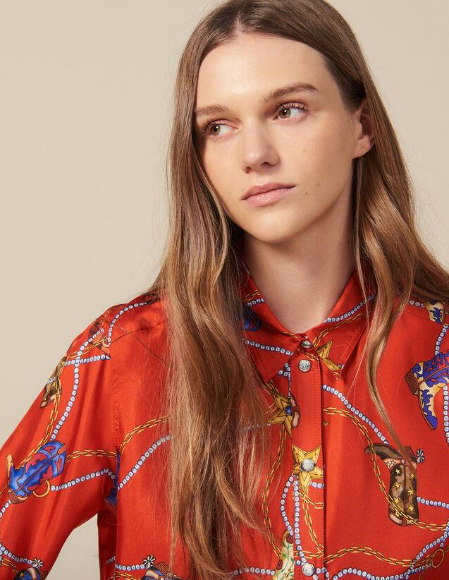 Camisa Estampada De Twill De Seda : Tops & Camisas color Rojo