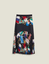 Falda Plisada Estampada : Faldas & Shorts color Negro