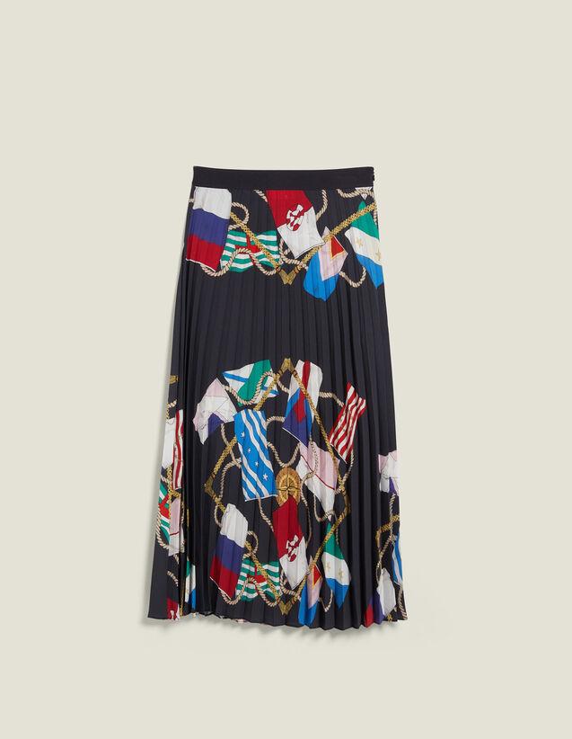 Falda Plisada Estampada : null color Negro