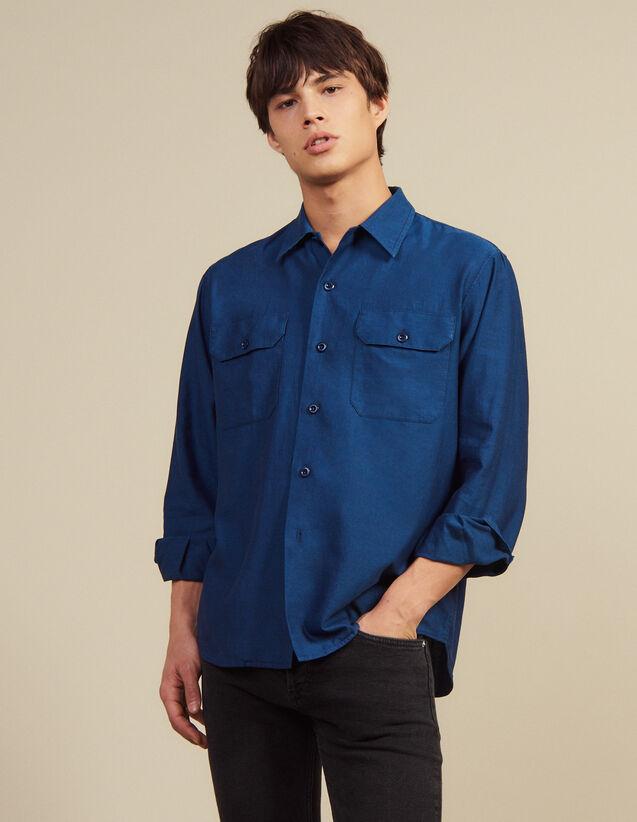 Camisa De Tela Fluida Con Chevrones : Sélection Last Chance color Azul