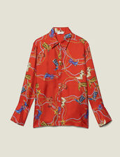Camisa Estampada De Twill De Seda : Copy of -40% color Rojo
