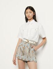 Short evasé de brocado : Faldas & Shorts color Or / Bleu