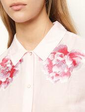 Camisa de lino con bordados : Tops & Camisas color Rose pastel