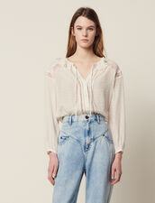 Blusa Fluida Con Pasamanos De Encaje : Tops & Camisas color Crudo