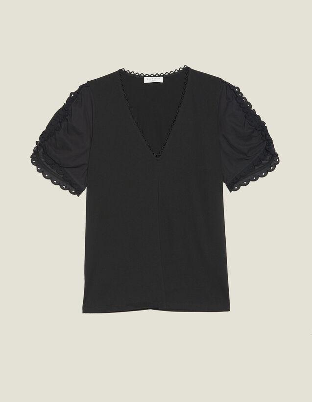 Camiseta De Manga Corta Ancha : Camisetas color Negro