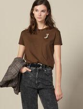 Camiseta Con Parche Bordado De Botines : Camisetas color Caqui