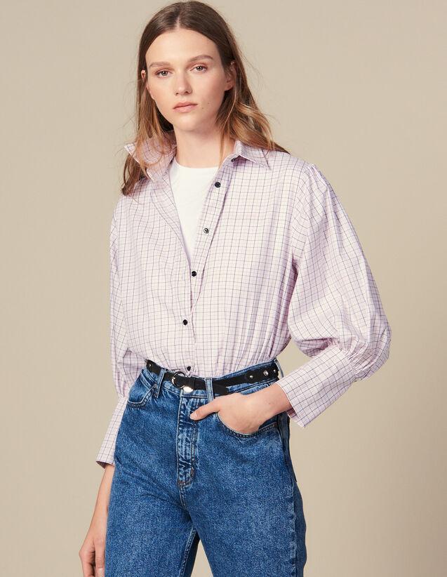 Camisa De Popelina De Cuadros Pequeños : Tops & Camisas color Rosa