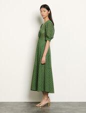 Vestido largo con bordado inglés : Vestidos color Caqui