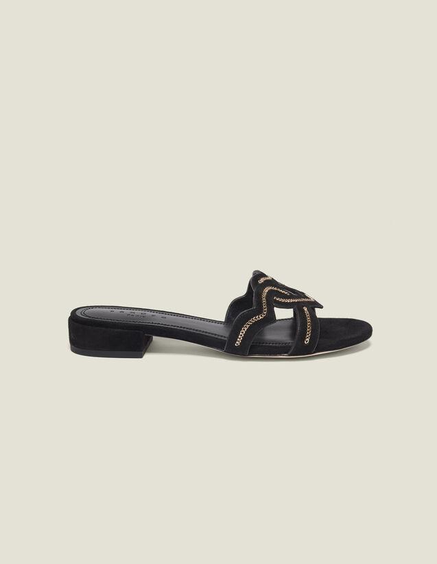 Sandalias Corazón De Ante De Cabra : Todos Zapatos color Negro