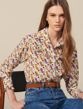 Camisa Estampada Adornada Con Volantes : FBlackFriday-FR-FSelection-30 color Crudo