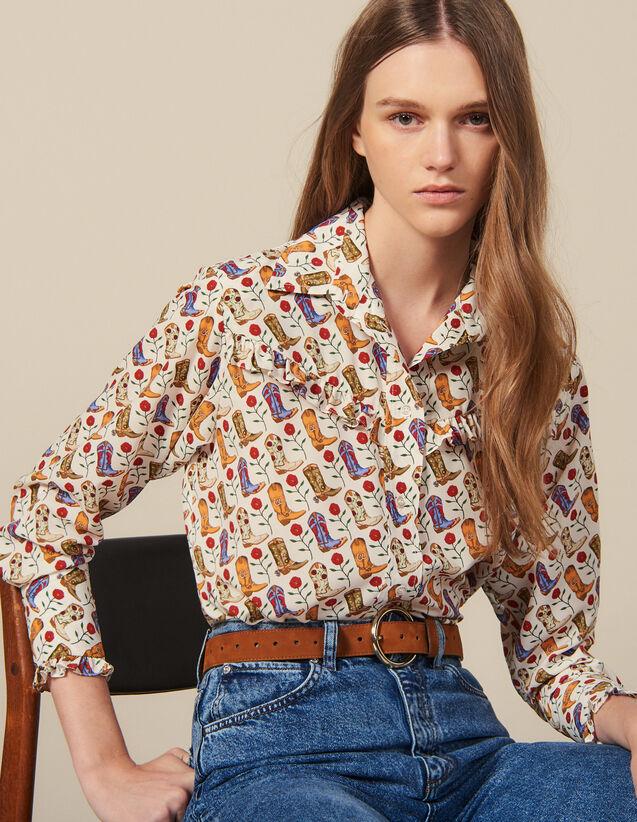 Camisa Estampada Adornada Con Volantes : Tops & Camisas color Crudo