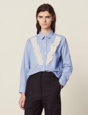 Camisa De Rayas Finas Con Encaje : LastChance-FR-FSelection color Sky Blue