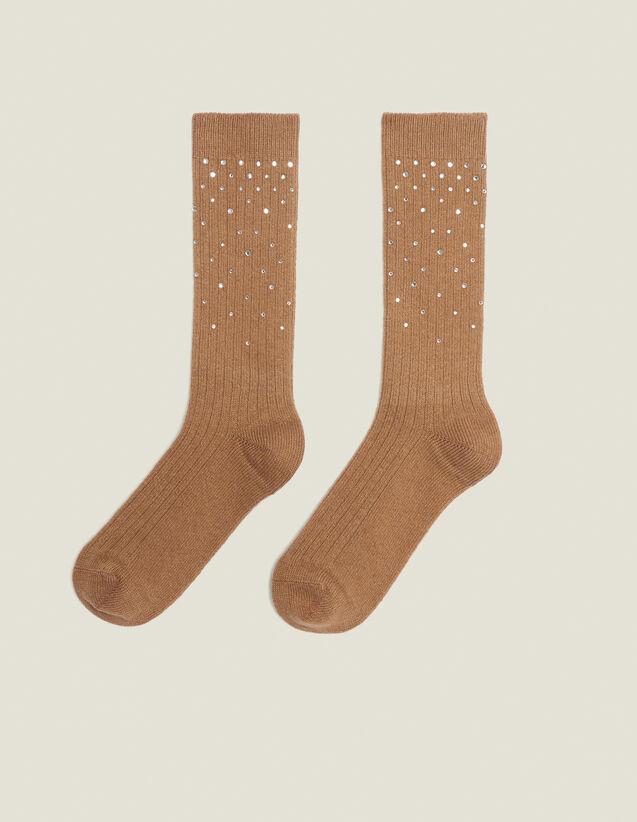 Calcetines adornados con estrás : Toda la colección de Invierno color Camel