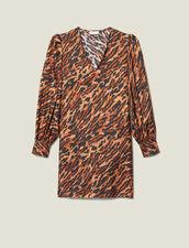 Vestido Corto Estampado De Seda : Vestidos color Fauve