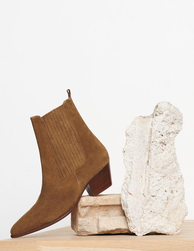Botas de piel con elásticos : Todos Zapatos color Caqui
