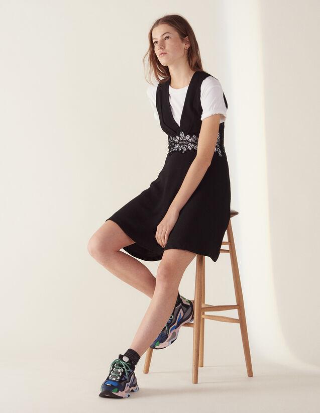Vestido Corto Con Inserto De Encaje : null color Negro
