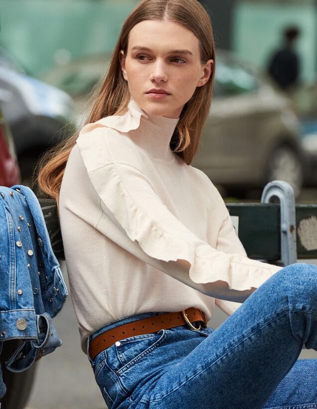 Jersey Cuello Alto Y Volante Asimétrico : FBlackFriday-FR-FSelection-Pulls&Cardigans color Carne