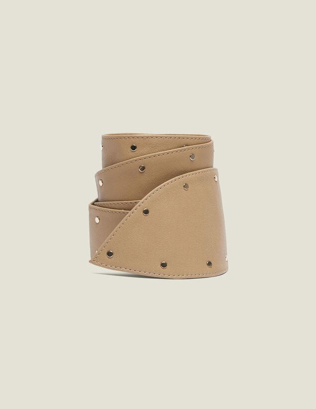 Cinturón Ancho Anudable Con Tachuelas : null color Beige