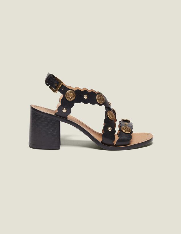 Sandalias De Tacón Y Detalle De Remaches : Todos Zapatos color Negro