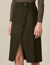 Falda Cruzada De Lana Con Abertura : Faldas & Shorts color Caqui