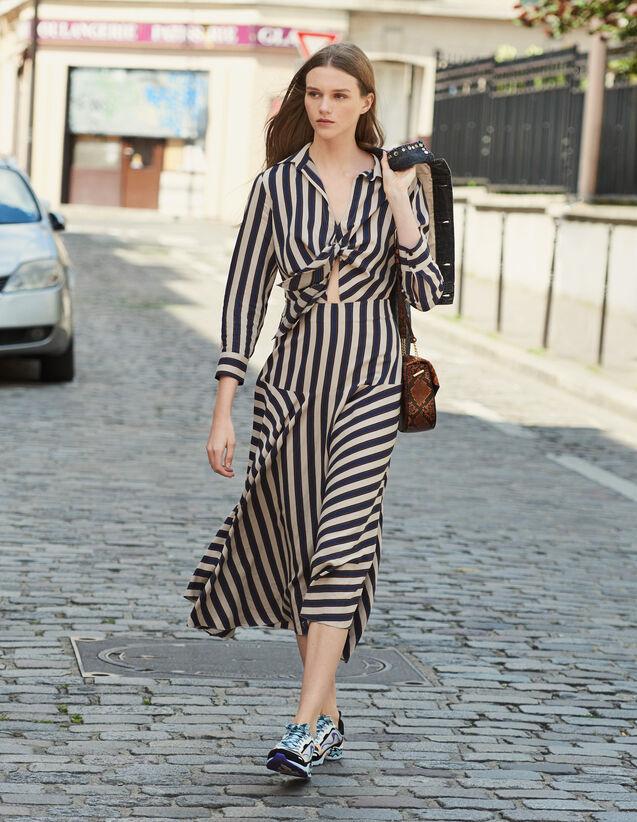 Vestido Largo Con Juego De Rayas : Novedades color A040