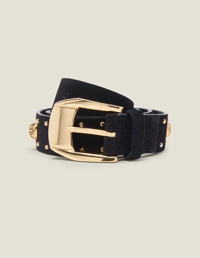 Cinturón Adornado Con Remaches Y Estrás : Cinturones color Negro