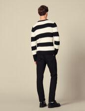 Jersey de rayas de punto perlado : Jerseys & Cárdigans color Ecru/Noir