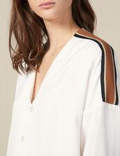 Camisa Fluida Con Pasamano De Rayas : Tops & Camisas color Crudo